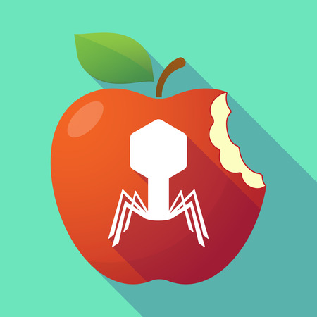viral infection: Illustration of a long shadow red apple with a virus