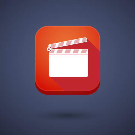 users video: Illustration of a square long shadow app button with a clapperboard Illustration