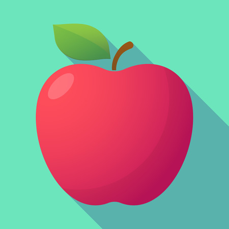 long shadow: Illustration of a long shadow red apple