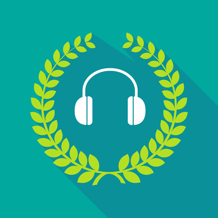 ear phones: Illustration of a long shadow laurel wreath icon with a earphones Illustration