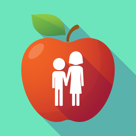 orphan: Illustration of a long shadow red apple with a childhood pictogram