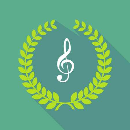 g clef: Illustration of a long shadow laurel wreath icon with a g clef Illustration
