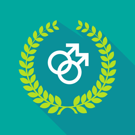 homosexual sex: Illustration of a long shadow laurel wreath icon with a gay sign Illustration