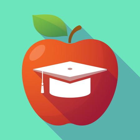 fresh graduate: Illustration of a long shadow red apple with a graduation cap Illustration