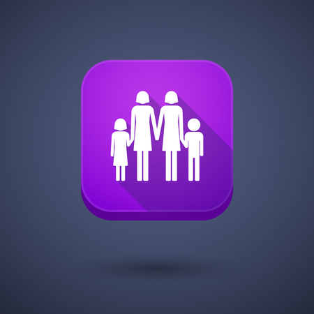 lesbian: Illustration of a square long shadow app button with a lesbian parents family pictogram