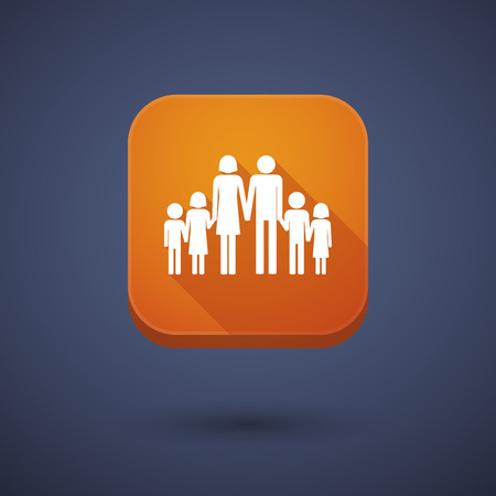 large family: Illustration of a square long shadow app button with a large family  pictogram