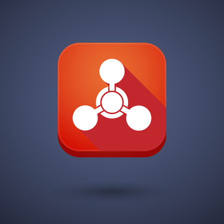 chemical weapon: Illustration of a square long shadow app button with a chemical weapon sign