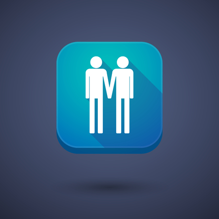 gay couple: Illustration of a square long shadow app button with a gay couple pictogram Illustration