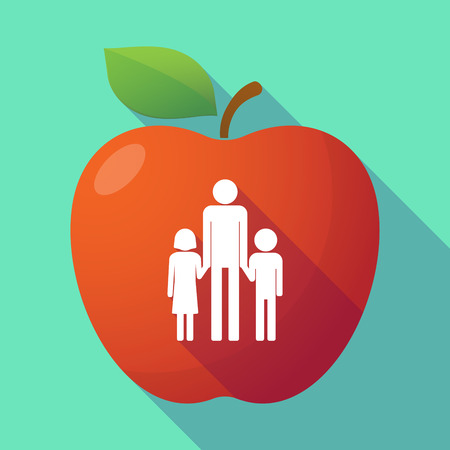 single family: Illustration of a long shadow red apple with a male single parent family pictogram