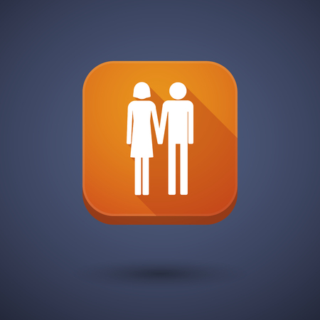 heterosexual: Illustration of a square long shadow app button with a heterosexual couple pictogram