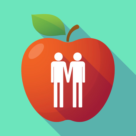 dates fruit: Illustration of a long shadow red apple with a gay couple pictogram
