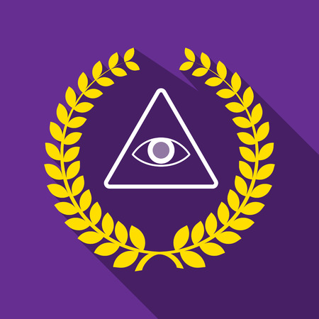 all seeing eye: Illustration of a long shadow laurel wreath icon with an all seeing eye Illustration