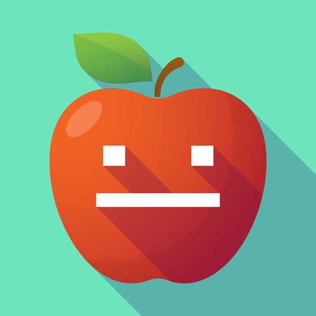 emotionless: Illustration of a long shadow red apple with a emotionless text face