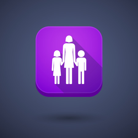 single family: Illustration of a square long shadow app button with a female single parent family pictogram
