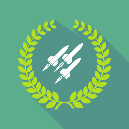 ballistic: Illustration of a long shadow laurel wreath icon with missiles Illustration