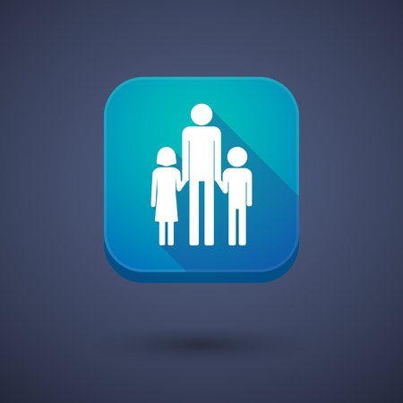 single parent: Illustration of a square long shadow app button with a male single parent family pictogram