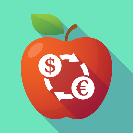 fruit trade: Illustration of a long shadow red apple with a dollar euro exchange sign Illustration