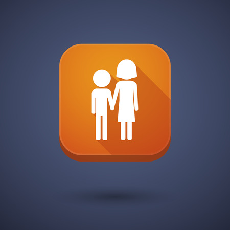 orphan: Illustration of a square long shadow app button with a childhood pictogram