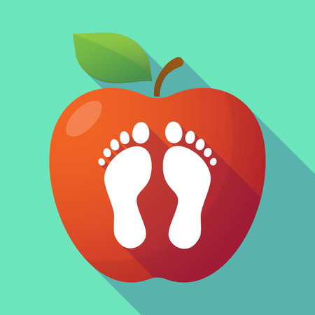 barefoot walking: Illustration of a long shadow red apple with two footprints