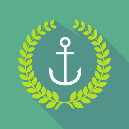 nautic: Illustration of a long shadow laurel wreath icon with an anchor