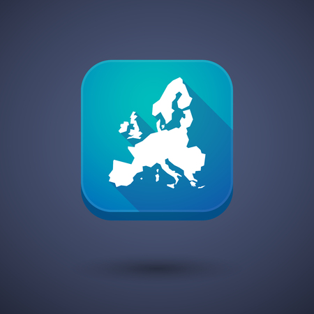 commission: Illustration of a square long shadow app button with  a map of Europe