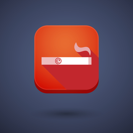 vaporizer: Illustration of a square long shadow app button with an electronic cigarette Illustration