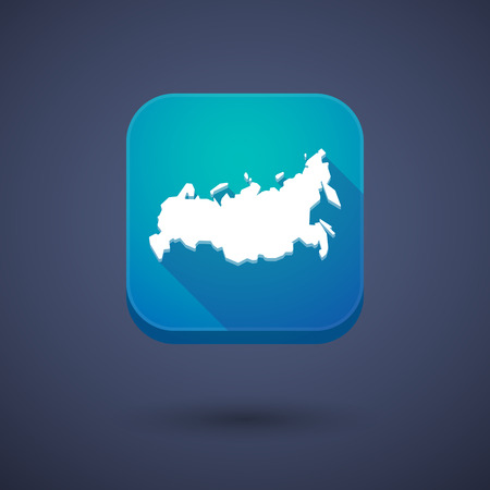 land development: Illustration of a square long shadow app button with  a map of Russia