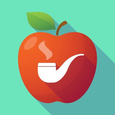 food poison: Illustration of a long shadow red apple with a smoking pipe Illustration