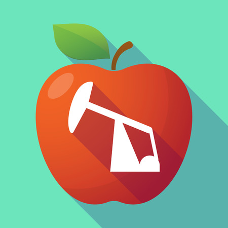 horsehead pump: Illustration of a long shadow red apple with a horsehead pump