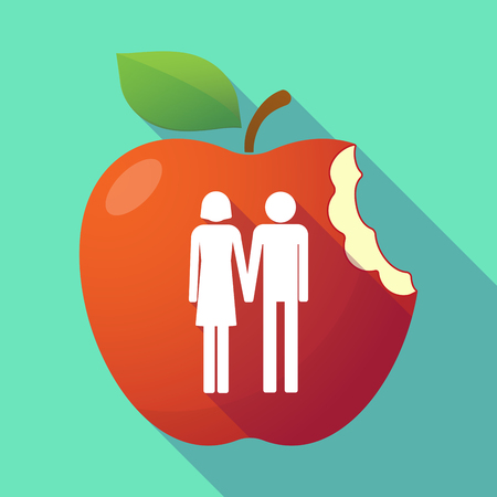 heterosexual couple: Illustration of a long shadow red apple with a heterosexual couple pictogram