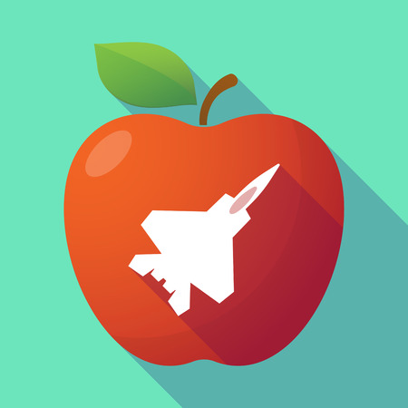combat: Illustration of a long shadow red apple with a combat plane Illustration