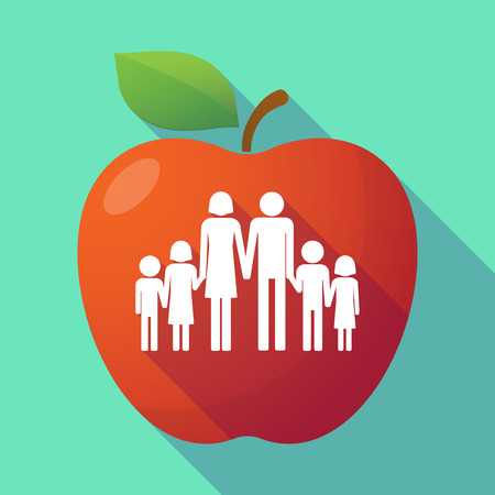 large family: Illustration of a long shadow red apple with a large family  pictogram Illustration