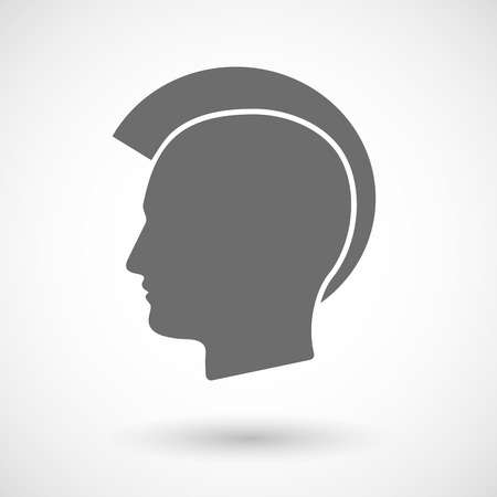 punk hair: Vector illustration of  a male punk head silhouette