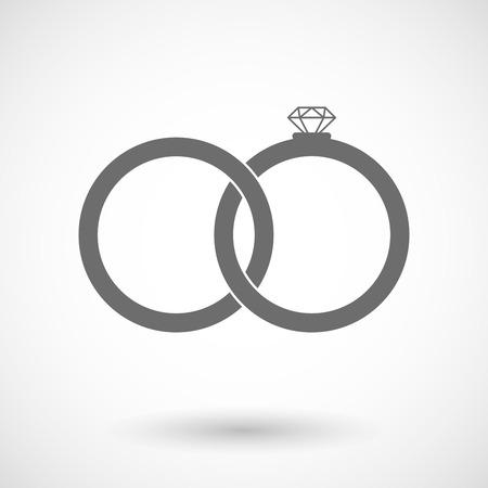 bonded: Vector illustration of two bonded wedding rings Illustration