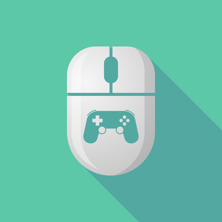 mouse pad: Illustration of a wireless long shadow mouse icon with   a game pad Illustration