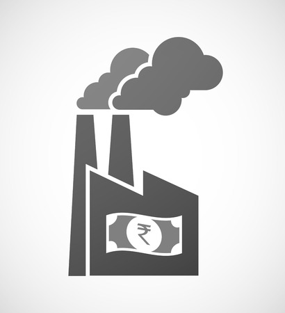 bank note: Illustration of an isolated industrial factory icon with  a rupee bank note icon