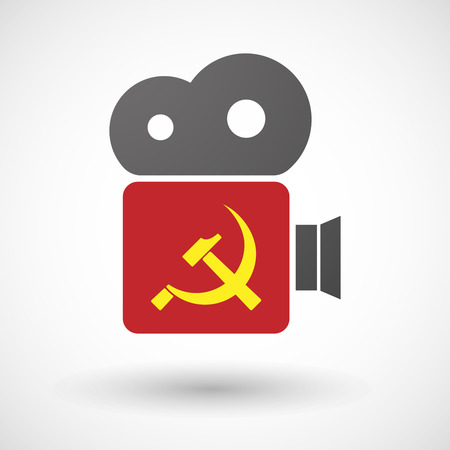 socialist: Illustration of an isolated cinema camera icon with  the communist symbol