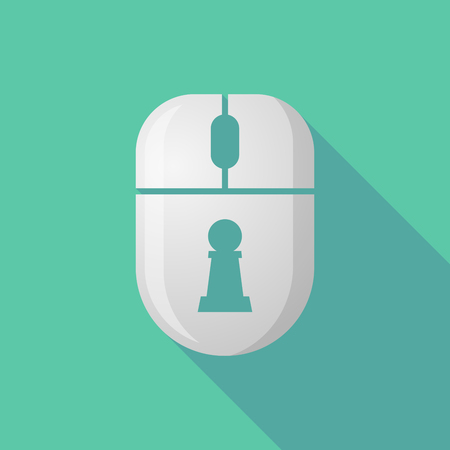 cordless: Illustration of a wireless long shadow mouse icon with  a  pawn chess figure Illustration