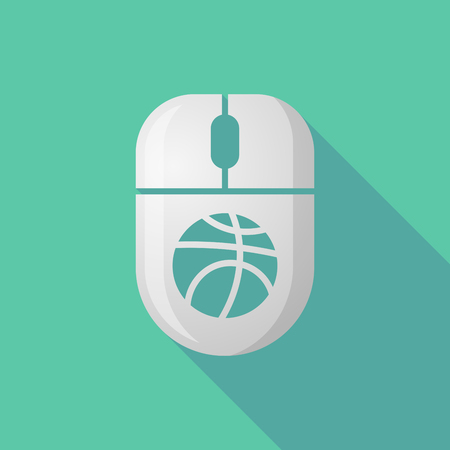 peripheral: Illustration of a wireless long shadow mouse icon with   a basketball ball Illustration