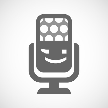 wink: Illustration of an isolated microphone icon with  a wink text face emoticon