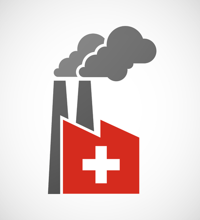 swiss flag: Illustration of an isolated industrial factory icon with   the Swiss flag