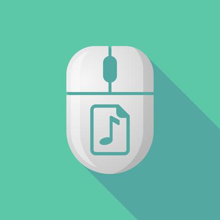 partition musique: Illustration d'une icône de souris sans fil longue ombre avec une icône de partition