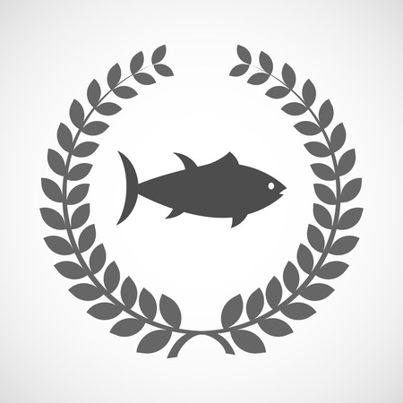 tuna fish: Illustration of an isolated laurel wreath icon with  a tuna fish