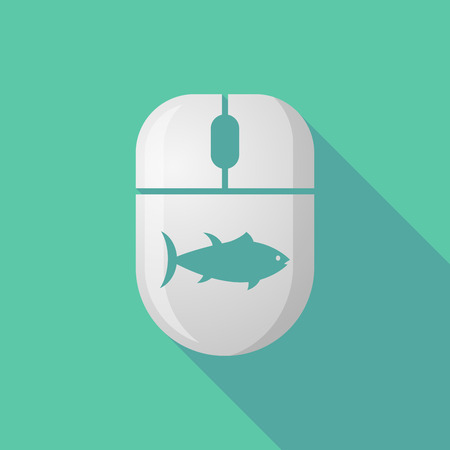 peripheral: Illustration of a wireless long shadow mouse icon with   a tuna fish Illustration