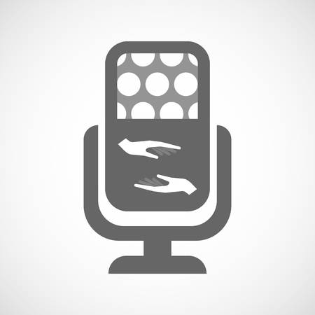 give and take: Illustration of an isolated microphone icon with  two hands giving and receiving  or protecting