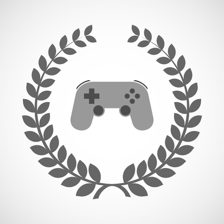 game pad: Illustration of an isolated laurel wreath icon with  a game pad Illustration