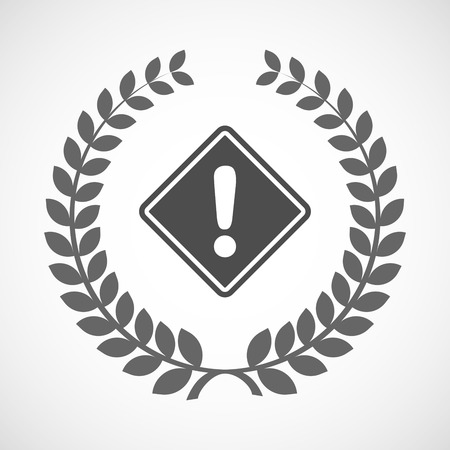 alert ribbon: Illustration of an isolated laurel wreath icon with   a warning road sign Illustration