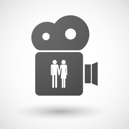 heterosexual couple: Illustration of an isolated cinema camera icon with a heterosexual couple pictogram Illustration