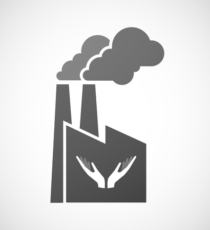 ease: Illustration of an isolated industrial factory icon with  two hands offering Illustration