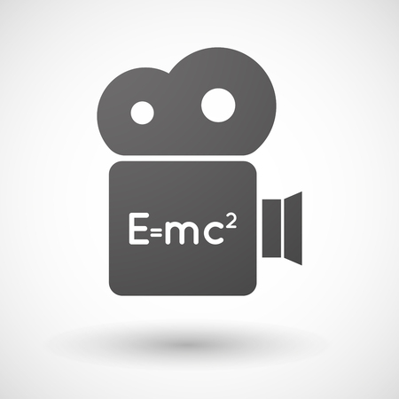 relativity: Illustration of an isolated cinema camera icon with the Theory of Relativity formula